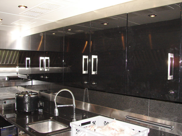 Jetblack galley cupboards